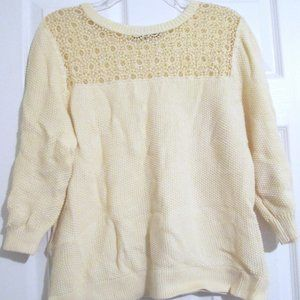 NY Collection Yellow Knit 3/4 Sleeve Sweater Sz XL